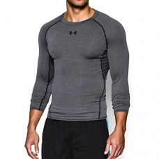 Under Armour Men's HeatGear Armour Long Sleeve Compression Shirt, Carbon Heather/Black, Medium