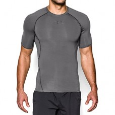 Under Armour Men's HeatGear Armour Short Sleeve Compression Shirt, Graphite/Black, Large