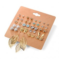 Unique Queen Women's Girl's Stainless Steel Assorted Multiple Stud Earring 20 Style Sets,Hypoallergenic (Style-1)