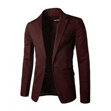 Allegra K Men Notched Lapel One Patch Chest Pocket Autumn Blazer M Burgundy