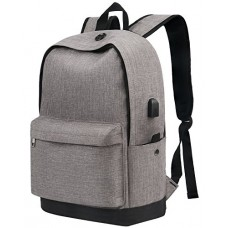 Backpack, Water Resistant School Backpack with USB Charging Port for Women Men, Canvas College Student Rucksack Fits 15.6 Inch Laptop and Notebook,...