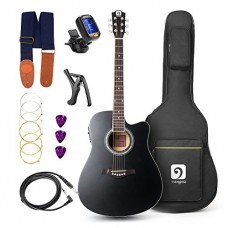 "Vangoa - 41"" Full-Size Black VG-41ECBK Acoustic Electric Cutaway Guitar with Guitar Gig Bag, Strap, Tuner, String, Picks, Capo"