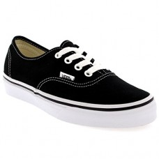 VANS Unisex Authentic Black Canvas VN000EE3BLK Mens 8, Womens 9.5