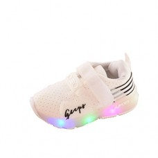 VESNIBA Fashion Autumn Toddler Sport Running Baby Shoes Boys Girls LED Luminous Shoes Sneakers (6, White)