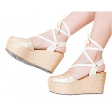 VIDALeather Women Lace Up High Rise Ankle Tie Strap Platform Colored Espadrilles Comfort Fashion Shoes Calzado Plataforma de Moda Para Dama Gold 8
