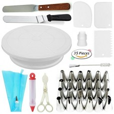 Cake Decorating Supplies VIPorama 35 Cake Turntable Stand,2 Icing & Angled Spatula,24 Stainless Steel Tips,1 Pastry Bag,1 Cake Tip Brush,1 Cake Flo...
