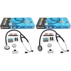"Vorfreude Cardiology Stethoscope Lifetime Replacement Guarantee (27"" Black) Bonus: Name Tag, Classic Pupil Pen Light, Batteries, Spare Diaphragm an..."