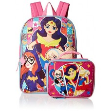 Warner Brothers Girls' Super Hero Backpack with Lunch Kit, Hot Pink/Blue
