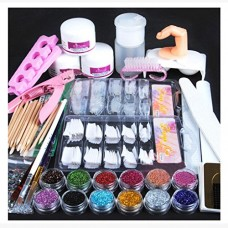Weccomeuni Acrylic Powder Glitter Nail Brush False Finger Pump Nail Art Tools Kit Set