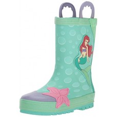 Western Chief Kids Waterproof Disney Character Rain Boots With Easy On Handles, Ariel Disney Princess, 8 M US Toddler