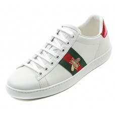 Wiberlux Gucci Men's Embroidered Bee Accent Lace-Up Sneakers 39.0 White