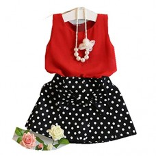 HOT SALE!!1-6 Years Old Girls Vest Pleated Dress Two Pieces Set Clothes Children Skirt Suit (Red, 5-6Years)