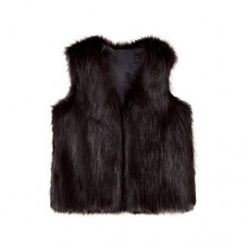 HOT SALE!!3-8 Years Old Baby Girl Winter Warm Clothes,Toddler Kids Faux Fur Waistcoat Thick Coat Outwear (Black, 7T)