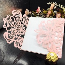 WOMHOPE® 50 Pcs - Flower Hollow Laser Cut Lace Shimmer Wedding Invitation Party Invitations Cards Birthday Invitations Cards Wedding Favors (Pink &...