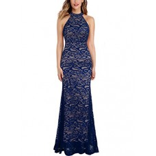 WOOSEA Women's Elegant Sleeveless Floral Lace Vintage Midi Cocktail Party Dress (Small, Navy Blue #3)