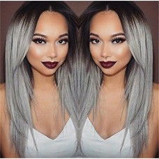 Worldflying®long Straight Hair Black to Grey Ombre Wig Heat Resistant Fiber Synthetic Cosplay Wigs Peruca Pelucas