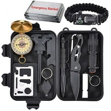 Emergency Survival Kit 13 in 1, XUANLAN Outdoor Survival Gear Tool with Survival Bracelet, Folding Knife, Compass, Emergency Blanket, Whistle, Tact...