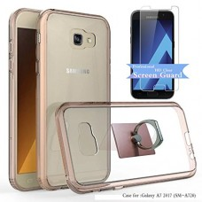 Galaxy A7 2017 (SM-A720) Clear Case With HD Screen Protector+Phone Stand,Ymhxcy [Air Hybrid] Ultra Slim Shockproof Bumper Cover For Samsung Galaxy ...