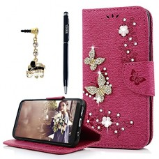Galaxy S8 Wallet Case, YOKIRIN Luxury 3D Handmade Crystal Rhinestone Case Embossed Double Bling Butterfly PU Leather with Wrist Strap Stand Credit ...