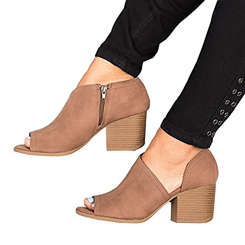 383e718753d Younsuer Women Low Heel Ankle Booties Slip On Vegan Suede Cut Out Chunky  Block Stacked Peep Toe ...