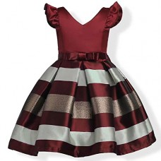 ZAH Girl Dress Kids Ruffles Lace Party Wedding Bridesmaid Dresses(Burgundy,8-9Y)