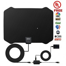 TV Antenna, ZetHot [2018 UPGRADED - With UL Adapter] 60 to 80 Mile Range Amplified Indoor HDTV Antenna with Advanced Amplifier Signal Booster and 1...