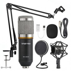 ZINGYOU Condenser Microphone Bundle, BM-800 Mic Kit with Adjustable Mic Suspension Scissor Arm, Shock Mount and Double-layer Pop Filter for Studio ...