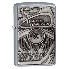 Zippo Harley-Davidson Motor Flag Emblem Street Chrome Pocket Lighter