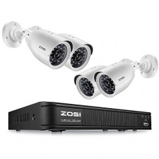 ZOSI 720p HD-TVI Home Security Camera System, 8 Channel 1080N DVR Recorder with 4x1280TVL Indoor/Outdoor Waterproof Night Vision Surveillance Camer...