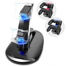 PS4 Controller Charger, Dual USB Charger Charging Docking Station Stand for Sony PlayStation 4 PS4 Controller and PS4 Slim PS4 Pro Controller
